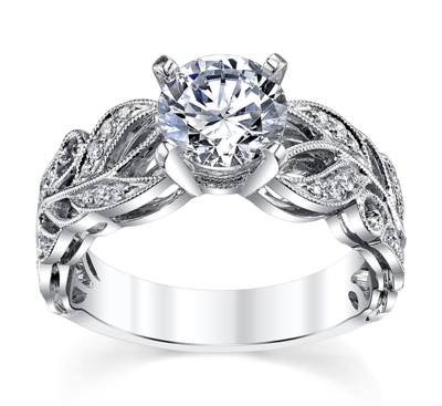 14K White Gold Diamond Engagement Ring Setting