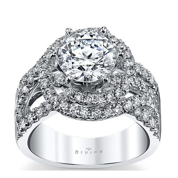 14K White Gold Diamond Engagement Ring Setting 1 1/3 Cttw.