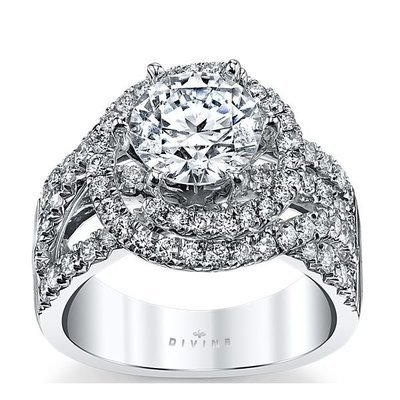 14K White Gold Diamond Engagement Ring Setting 1 1/3 Cttw.