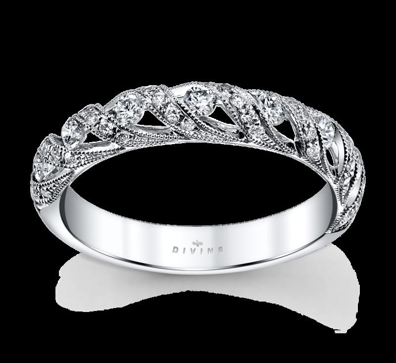14K White Gold Diamond Wedding Ring 3/8 Cttw.