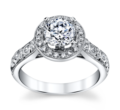 14K White Gold Diamond Engagement Ring Setting 1/2 Cttw.