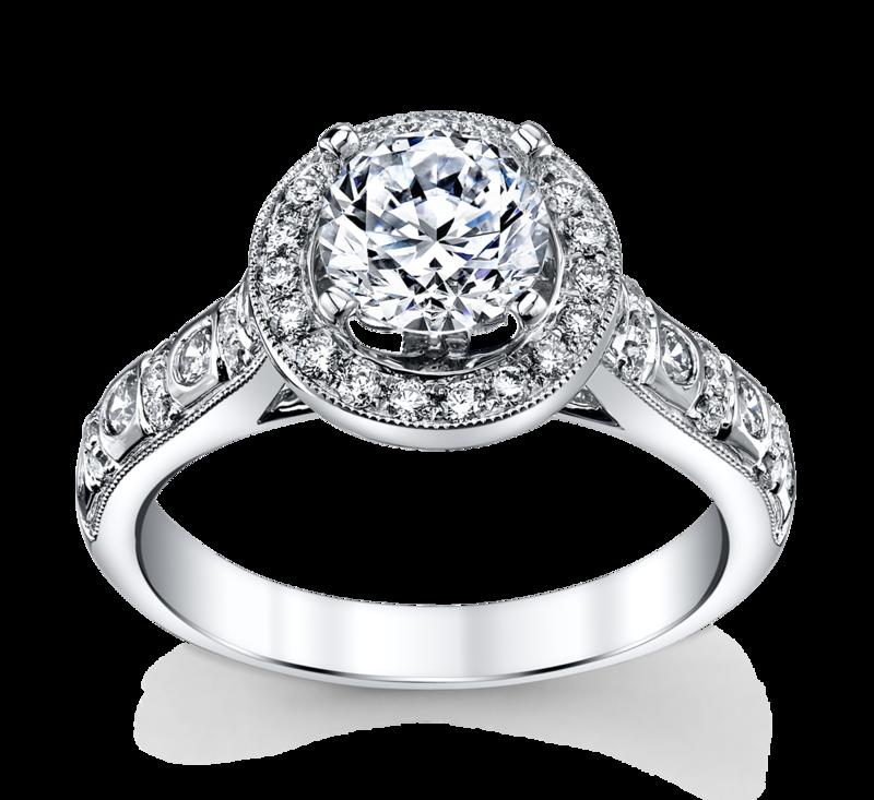 14K White Gold Diamond Engagement Ring Setting 1/2 Cttw.