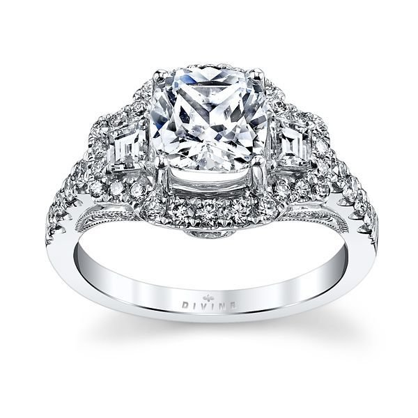 Premier by Divine 14K White Gold Diamond Engagement Ring Setting