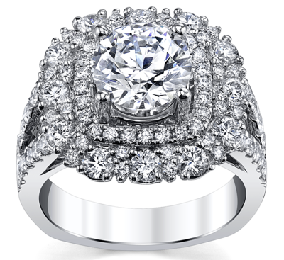 14K White Gold Diamond Engagement Ring Setting 1 3/4 Cttw.