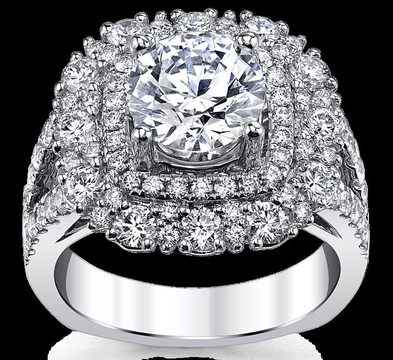 14K White Gold Diamond Engagement Ring Setting 1 3/4 Cttw.