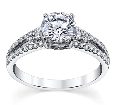 14K White Gold Diamond Engagement Ring Setting 1/3 Cttw.