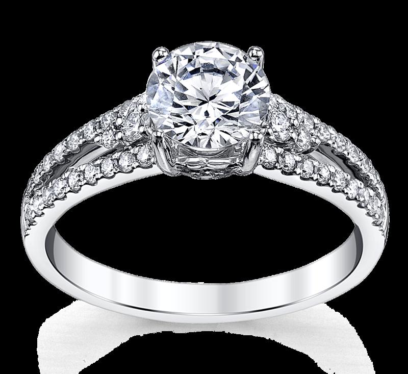 14K White Gold Diamond Engagement Ring Setting 1/3 Cttw.