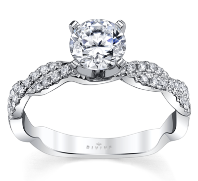 14K White Gold Diamond Engagement Ring Setting 1/5 Cttw.