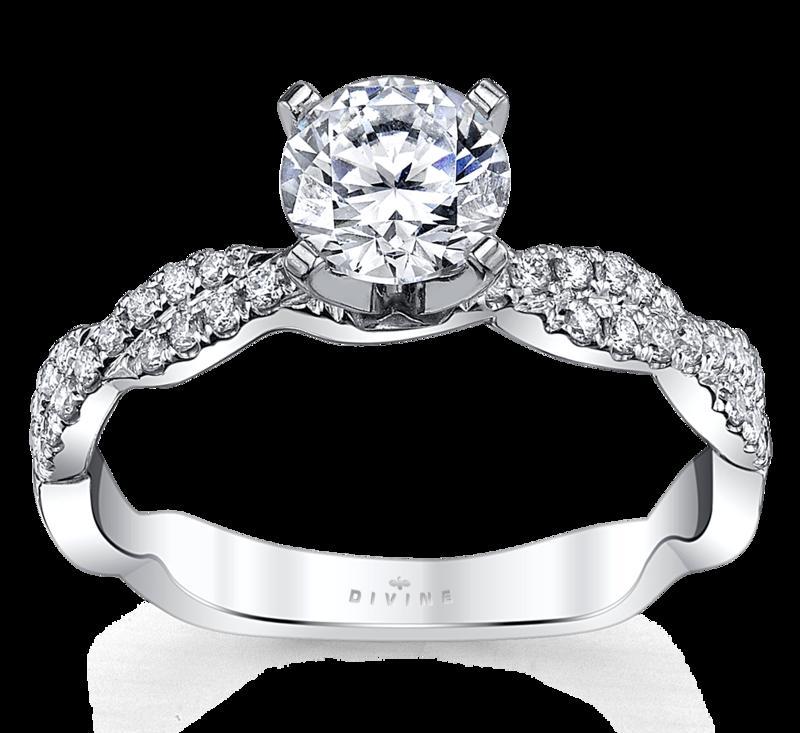 14K White Gold Diamond Engagement Ring Setting 1/5 Cttw.