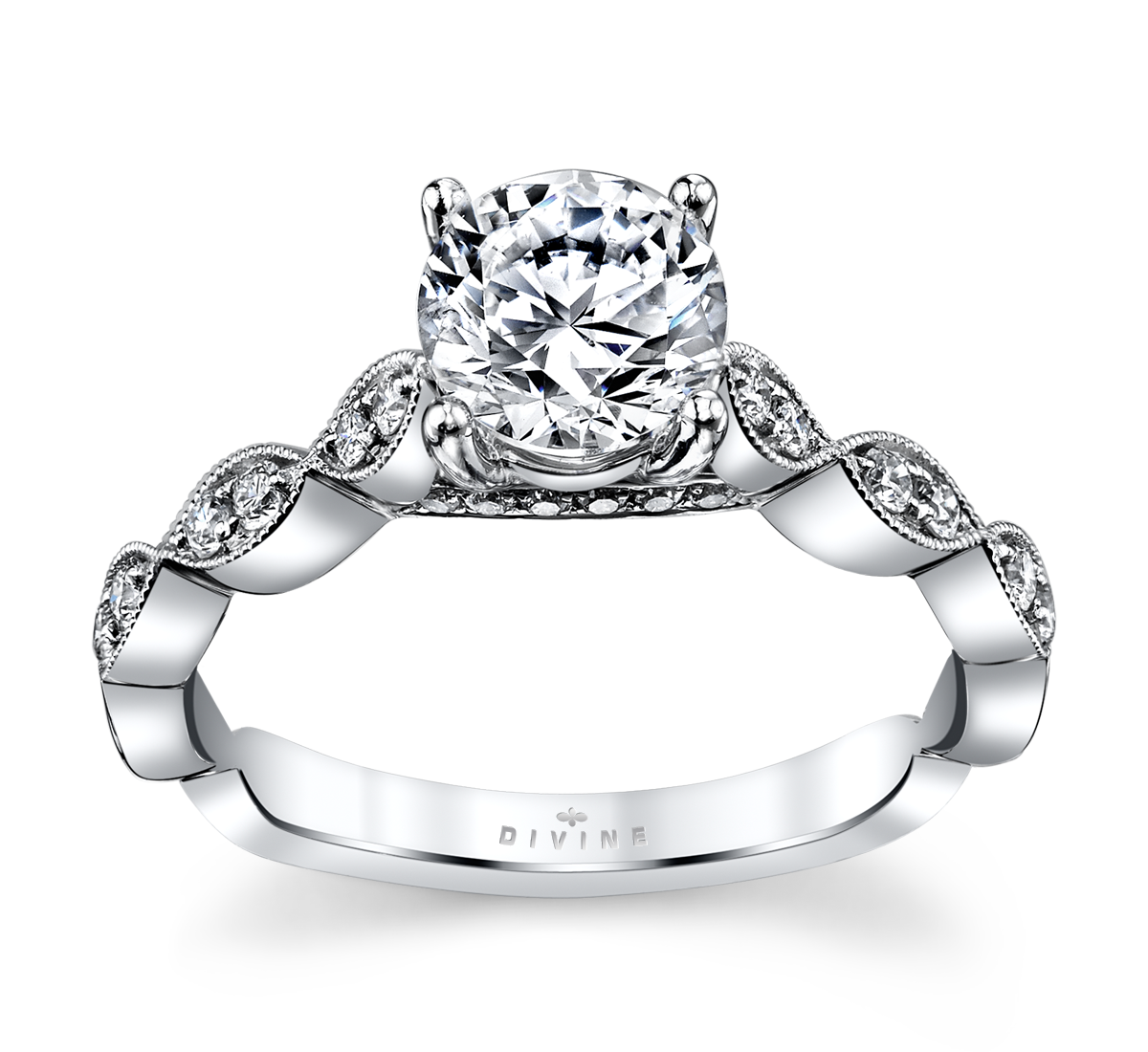 14K White Gold Diamond Engagement Ring Setting 1/6 Cttw.