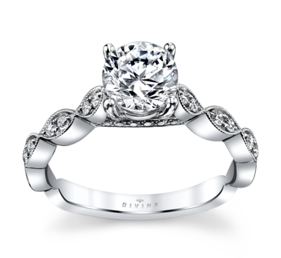 14K White Gold Diamond Engagement Ring Setting 1/6 Cttw.