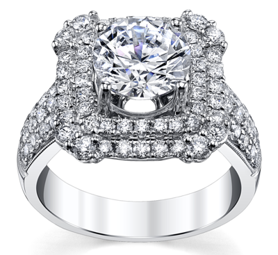 14K White Gold Diamond Engagement Ring Setting 1 Cttw.
