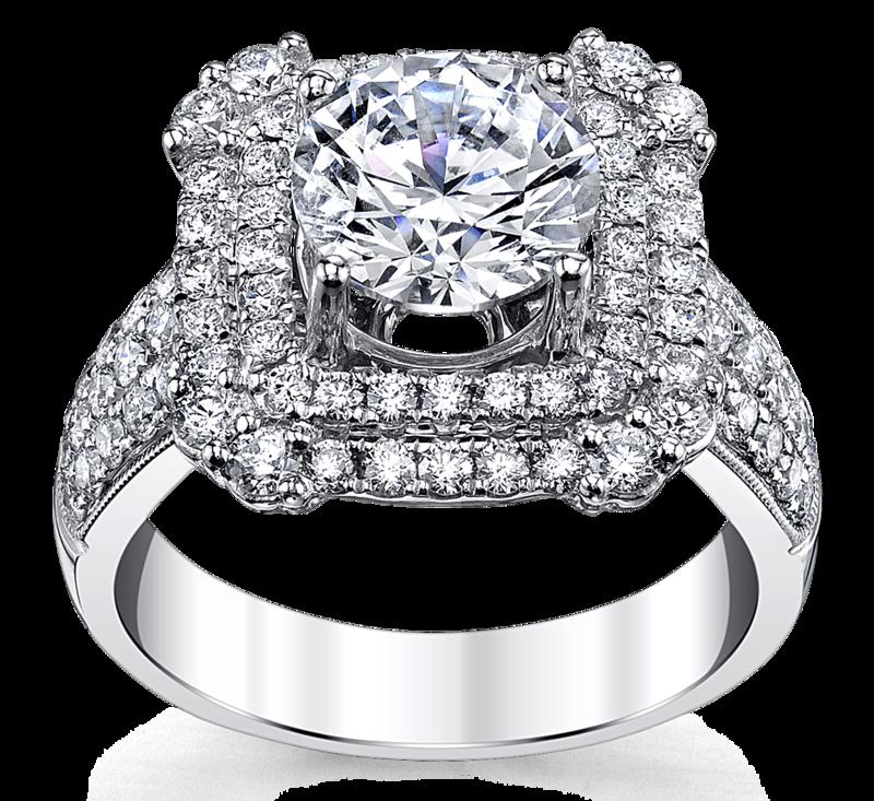 14K White Gold Diamond Engagement Ring Setting 1 Cttw.