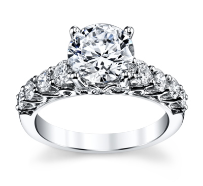 14K White Gold Diamond Engagement Ring Setting 3/4 Cttw.