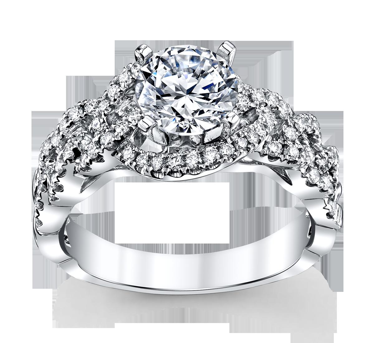 14K White Gold Diamond Engagement Ring Setting 3/8 Cttw.