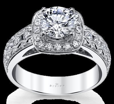 14K White Gold Diamond Engagement Ring Setting 5/8 Cttw.