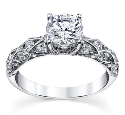 14K White Gold Diamond Engagement Ring Setting 5/8 Cttw.