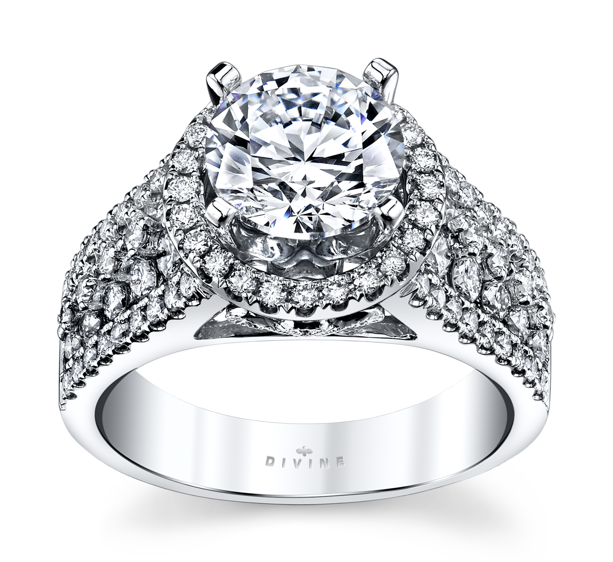14K White Gold Diamond Engagement Ring Setting 7/8 Cttw.