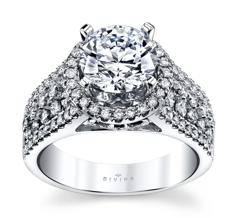 14K White Gold Diamond Engagement Ring Setting 7/8 Cttw.