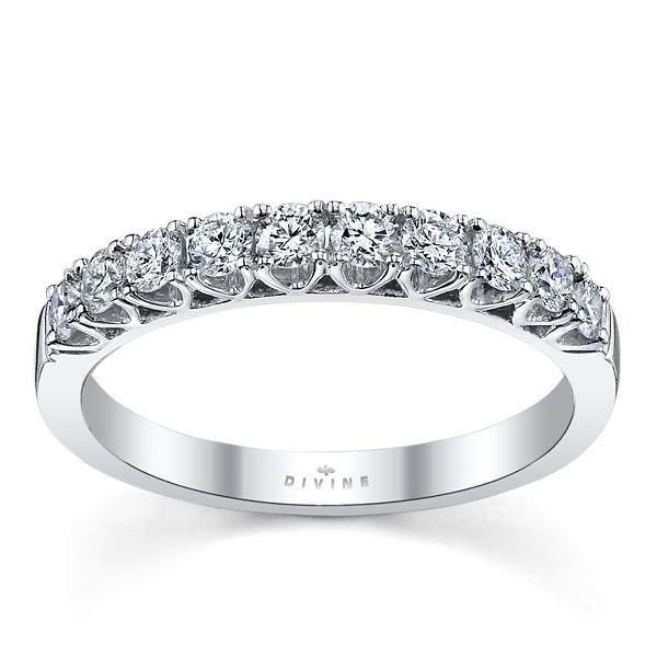 14K White Gold Diamond Wedding Ring 1/2 ct tw