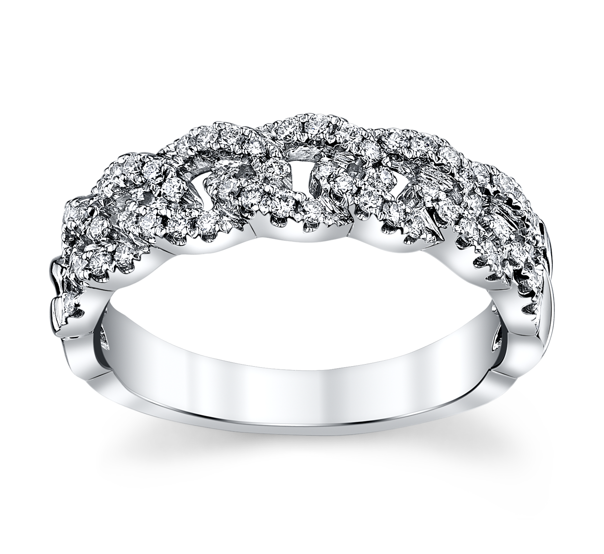 14K White Gold Diamond Wedding Ring 1/3 Cttw.