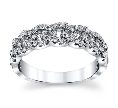 14K White Gold Diamond Wedding Ring 1/3 Cttw.