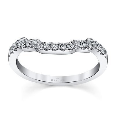 14K White Gold Diamond Wedding Ring 1/5 ct tw