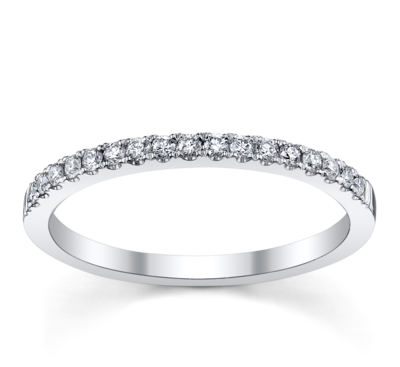 14K White Gold Diamond Wedding Ring 1/6 ct tw