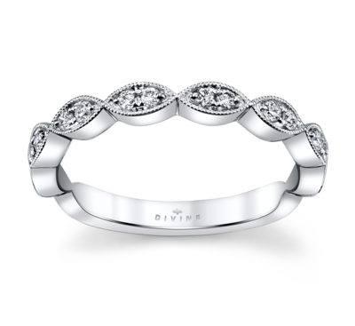 14K White Gold Diamond Wedding Ring 1/6 Cttw.