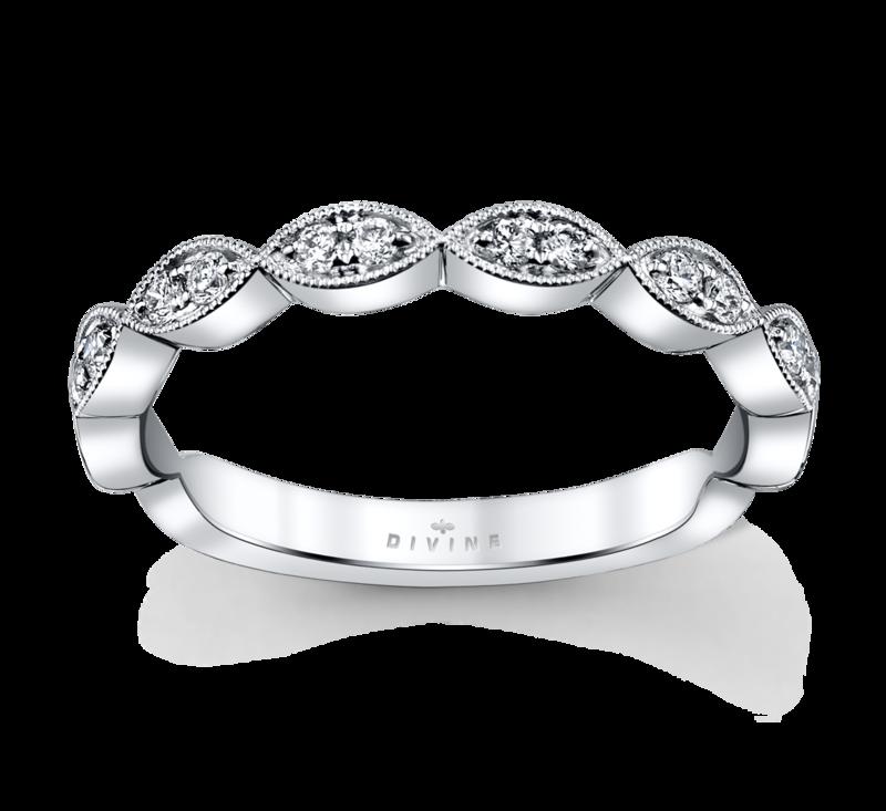 14K White Gold Diamond Wedding Ring 1/6 Cttw.