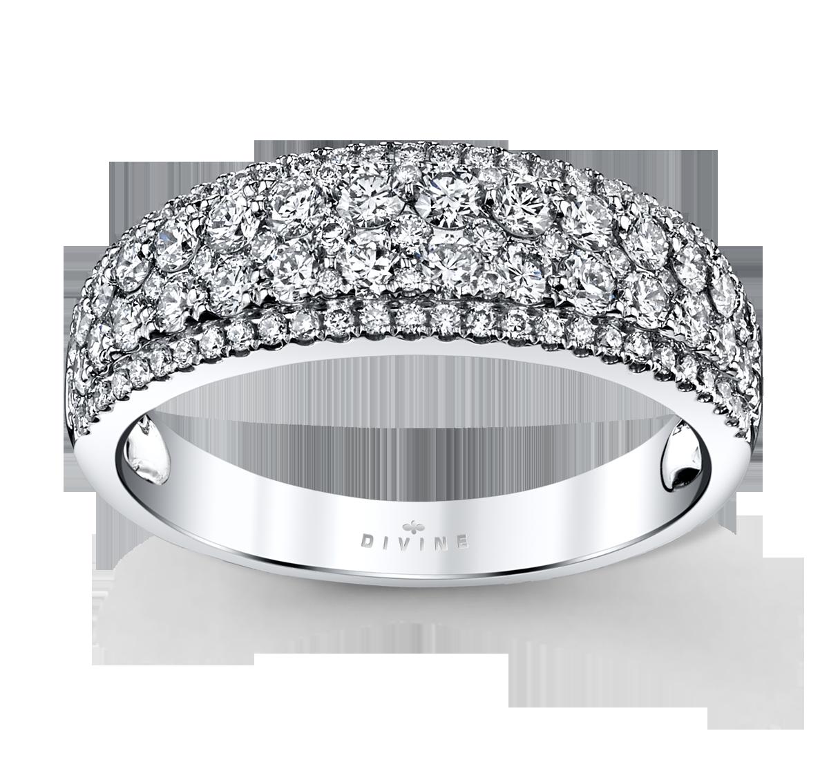 14K White Gold Diamond Wedding Ring 1 Cttw.
