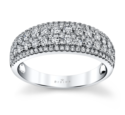 14K White Gold Diamond Wedding Ring 1 Cttw.