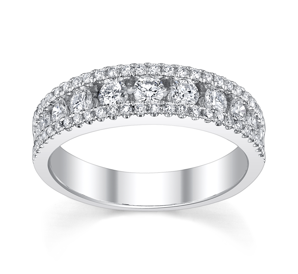 14K White Gold Diamond Wedding Ring 3/4 ct tw