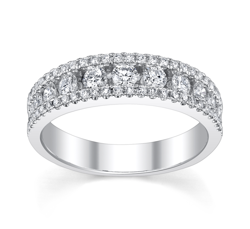 14K White Gold Diamond Wedding Ring 3/4 ct tw