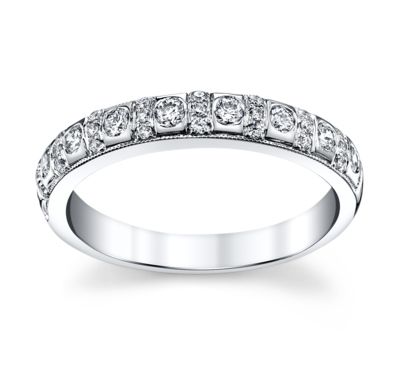 14K White Gold Diamond Wedding Ring 3/8 Cttw.