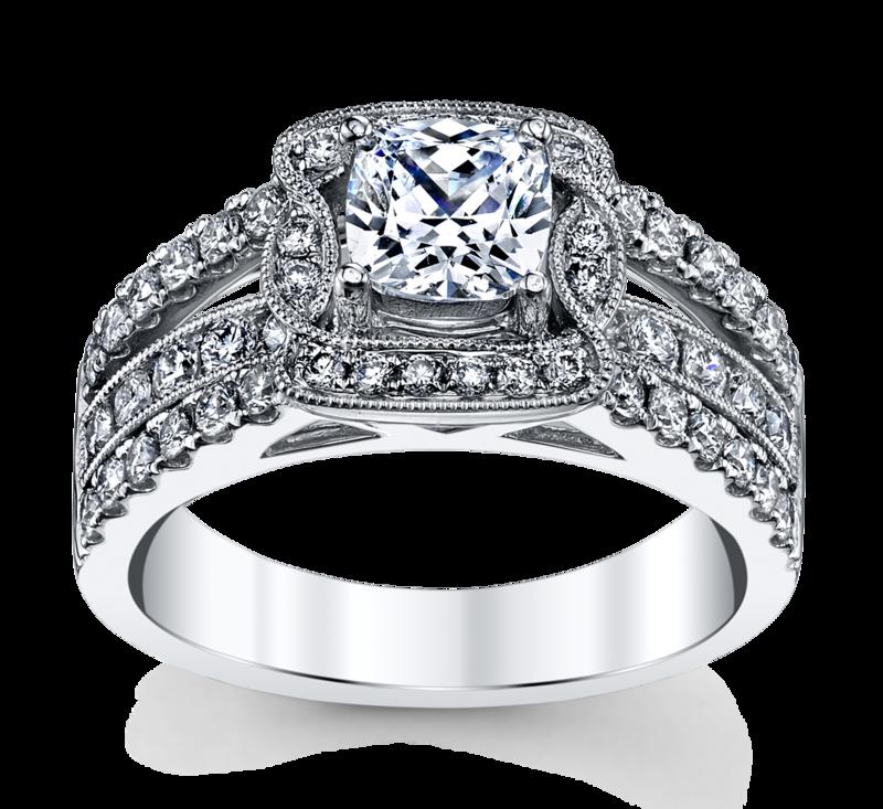 14K White Gold Engagement Ring Setting 5/8 Cttw.