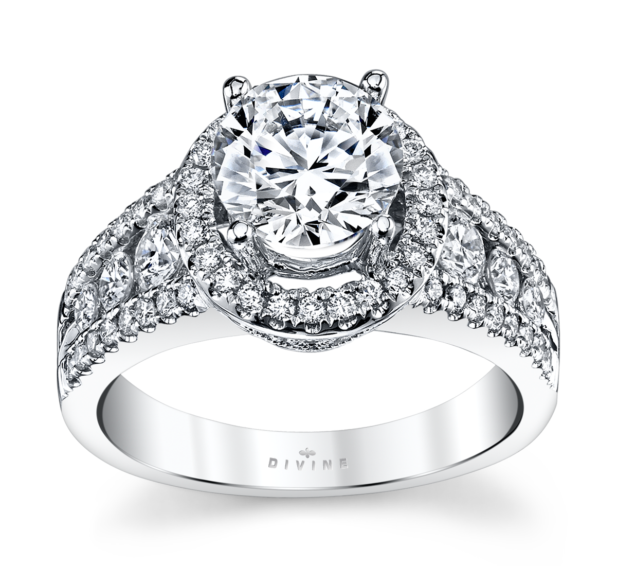 14K White Gold Halo Diamond Engagement Ring Setting 3/4 Cttw.