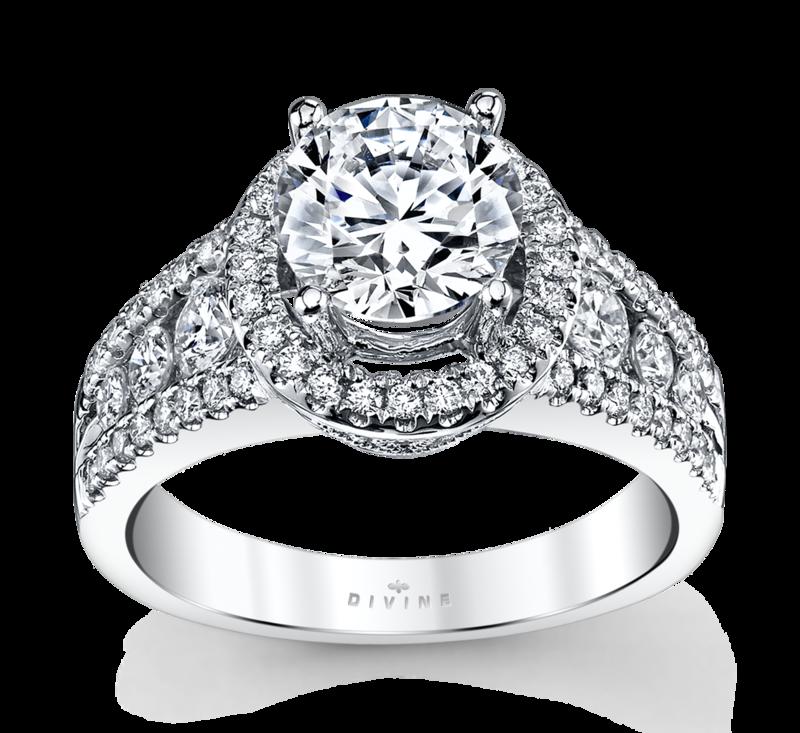 14K White Gold Halo Diamond Engagement Ring Setting 3/4 Cttw.