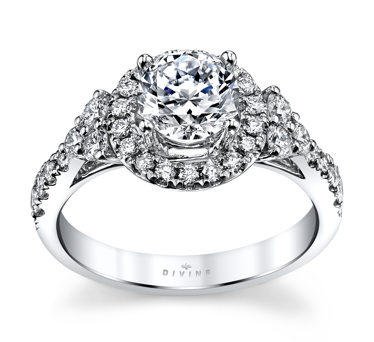 14K White Gold Halo Diamond Engagement Ring Setting 5/8 Cttw.