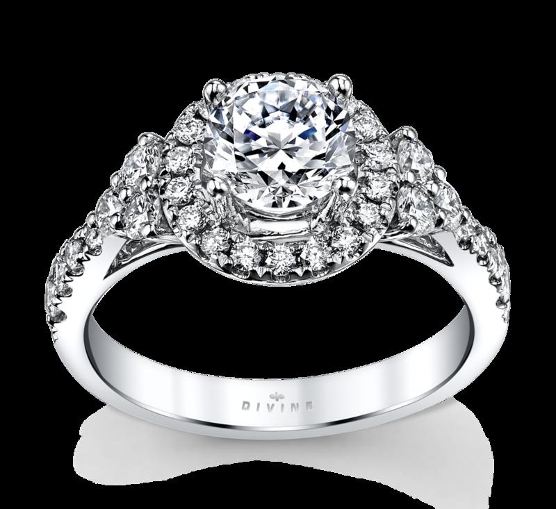 14K White Gold Halo Diamond Engagement Ring Setting 5/8 Cttw.
