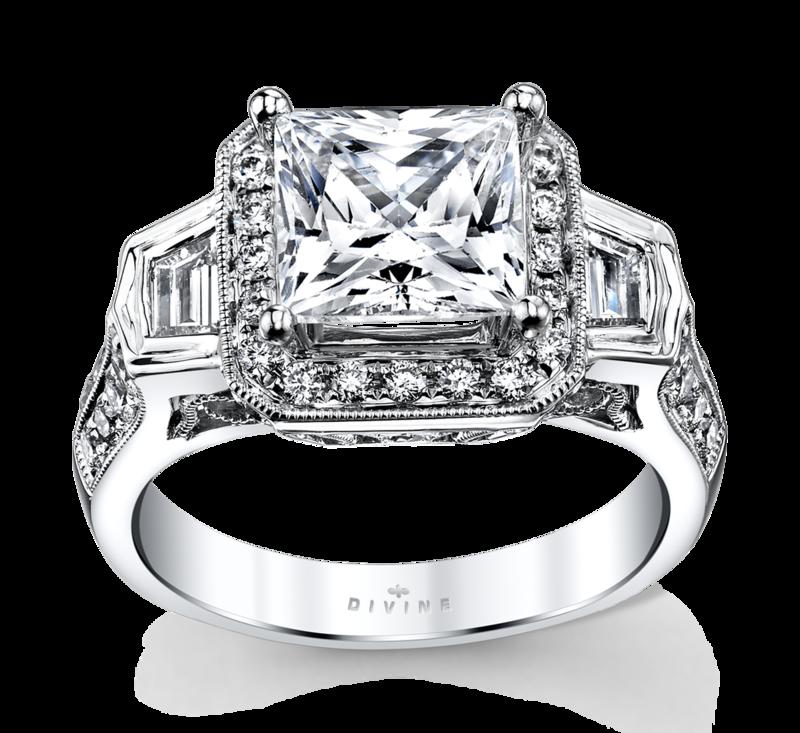 14K White Gold Halo Diamond Engagement Ring Setting 7/8 Cttw.