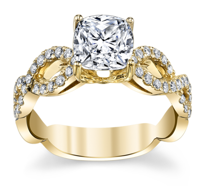 14K Yellow Gold Diamond Engagement Ring Setting 1/3 Cttw.
