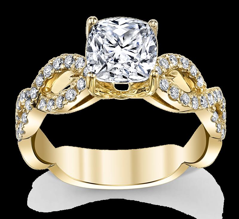 14K Yellow Gold Diamond Engagement Ring Setting 1/3 Cttw.