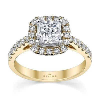 14K Yellow Gold Diamond Wedding Set Setting
