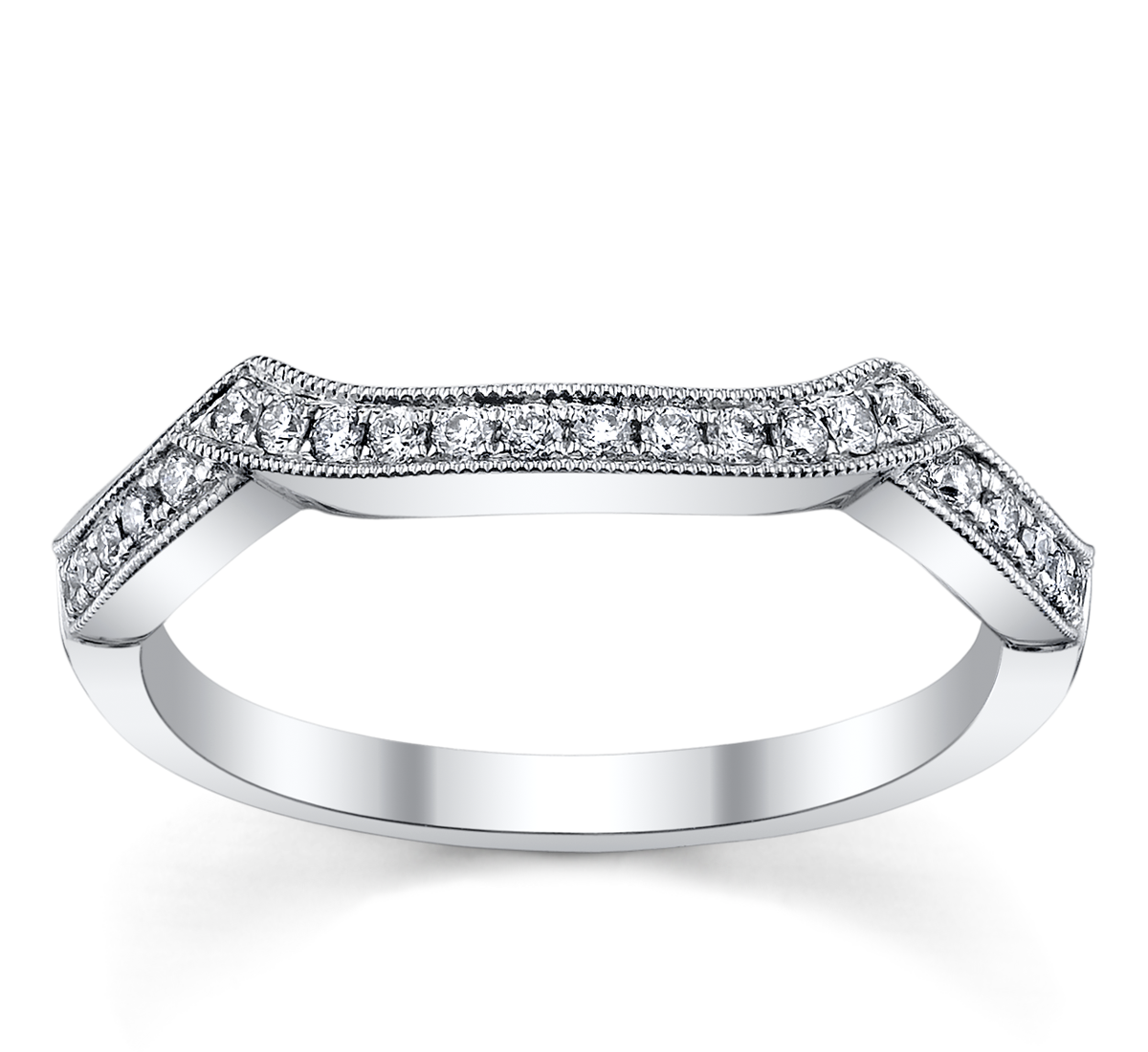 18K White Gold Diamond Wedding Ring 1/6 ct tw