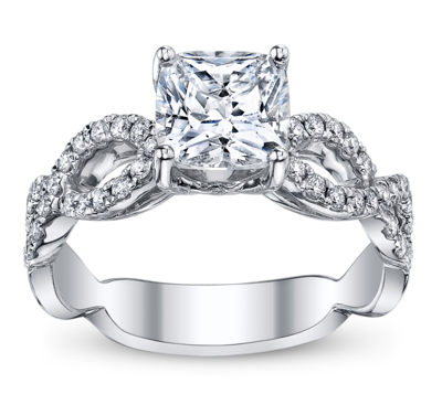 Ladies 14K White Gold Diamond Engagement Ring