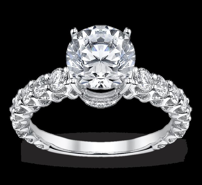 Ladies 18K White Gold Diamond Engagement Ring