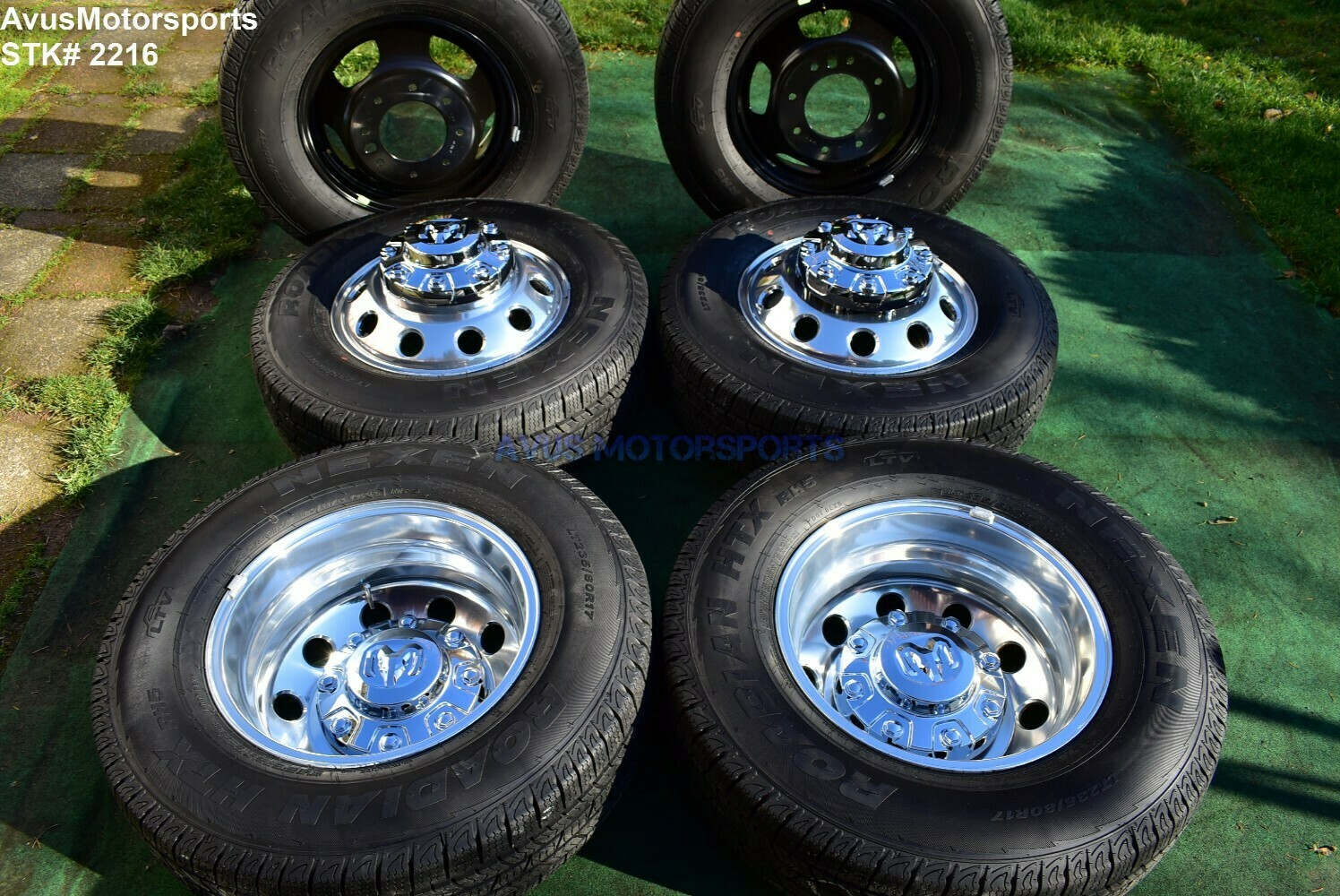 "17"" Dodge Ram 3500 OEM Factory Dually Alloy Wheels & Tires Laramie DRW 2020 2019 8x200 bolt pattern"