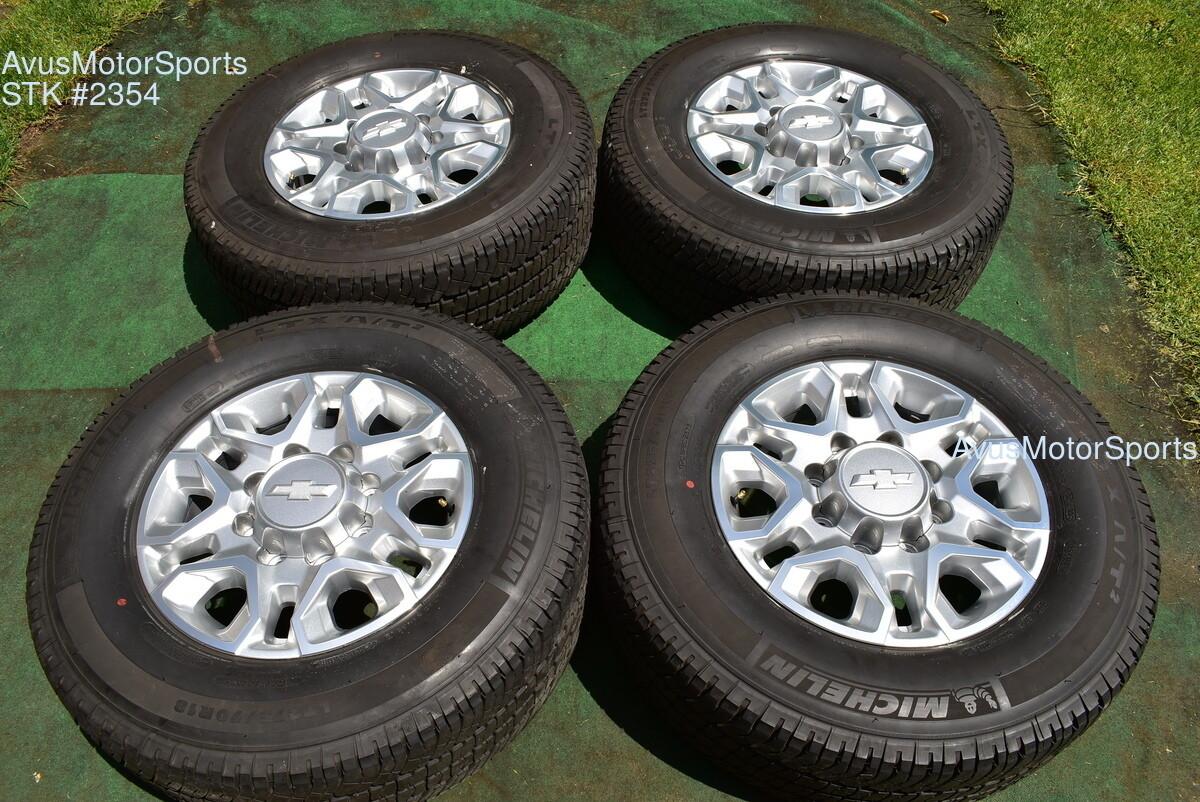 "18"" Chevy Silverado 2500 3500 OEM WHEELS TIRES GMC Sierra 2020 Michelin"