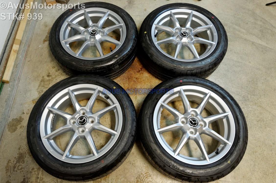 "2016 Mazda MX-5 Miata OEM 16"" Factory Wheels & Yokohama Advan 195/50R16 4x100"